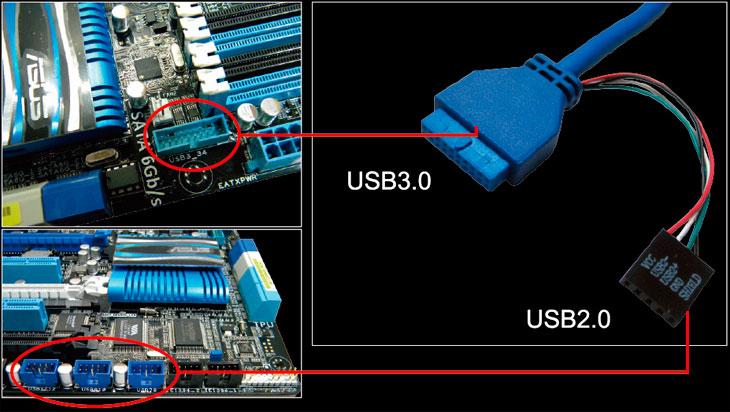 Соединение F_USB2.0 (Male) to F_USB3.0 (Female) на материнской плате