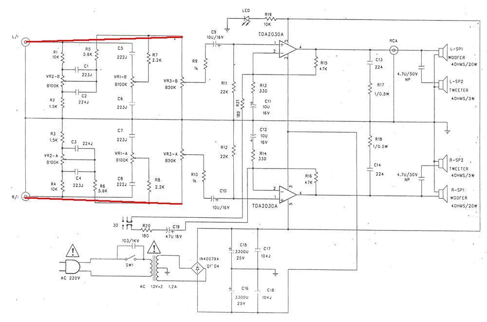 электрическая схема активных колонок свен